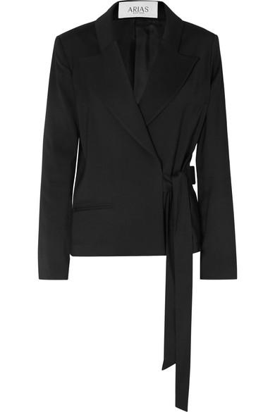 Arias Stretch-canvas Wrap Blazer In Black