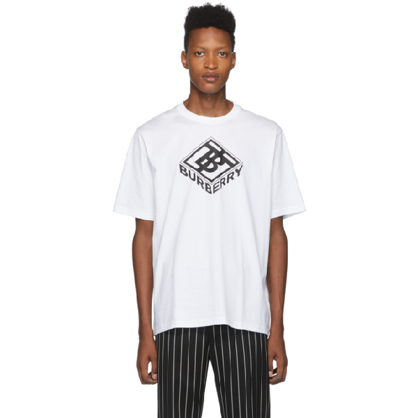 Burberry White Unisex Tb Box Graphic Logo T-shirt