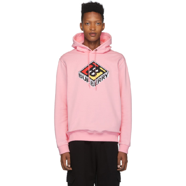 Burberry Logo Embroidery Cotton Jersey Hoodie In Candy Pink