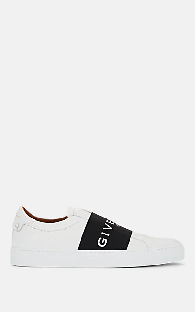 Givenchy Urban Street Leather Sneakers With Elasticated Insert And Logo In Wht.&Blk.