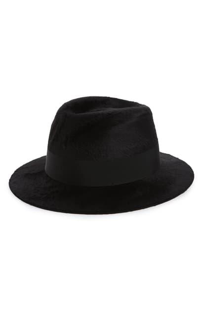 Saint Laurent Fur Felt Fedora In Noir/ Noir