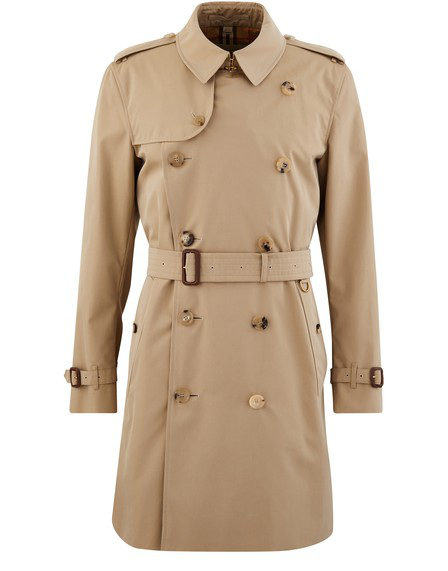 Burberry The Kensington Check-Lined Cotton Trench Coat In Honey