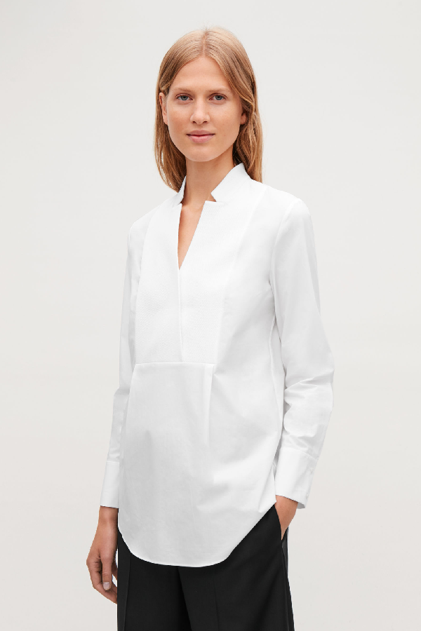 Cos Textured Cotton Tunic In White