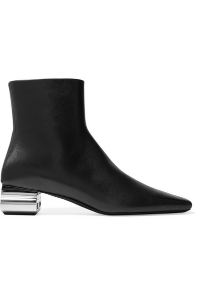 Balenciaga Typo Chrome-heel Leather Ankle Boots In Black