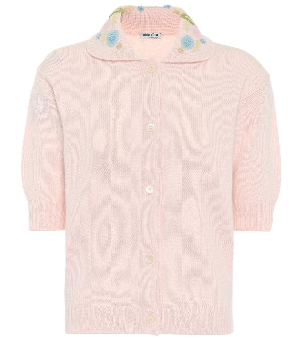 Miu Miu Embroidered Virgin Wool Knit Top In Pink