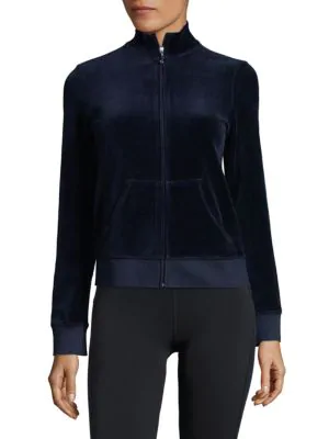 Juicy Couture Black Label Velour Zip Up Sweatshirt In Regal