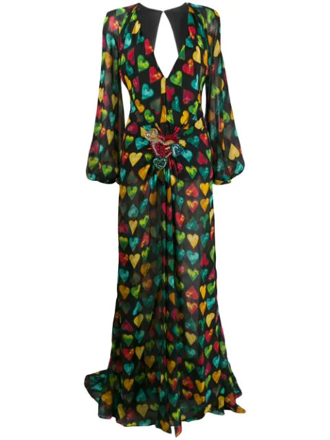 Versace Heart-print Embellished-plaque Silk-chiffon Gown In Black