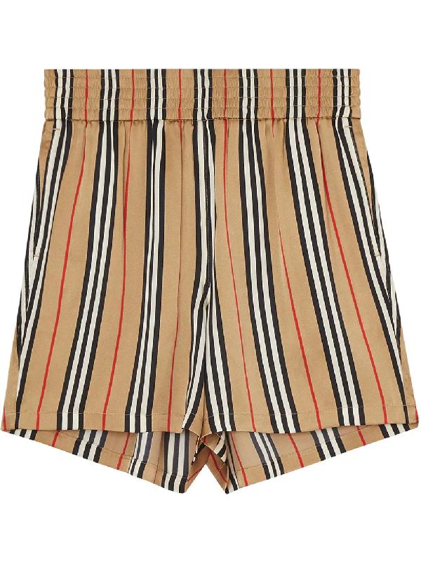 Burberry Striped Wide High-Rise Silk Shorts In Neutrals