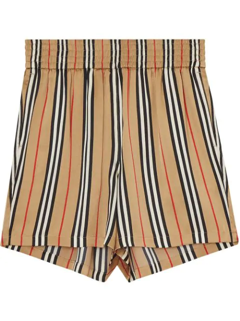 Burberry Marsett Check Printed Silk Twill Shorts In Neutrals