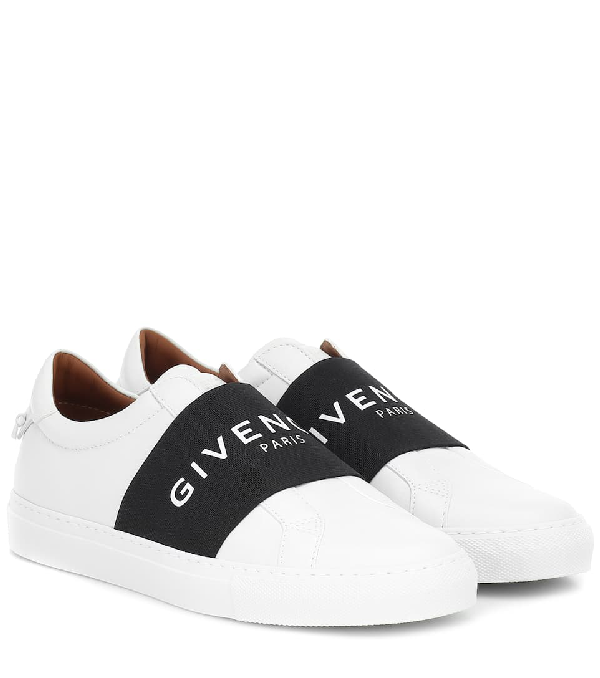 Givenchy Urban Street Logo-print Leather Slip-on Sneakers In White/black