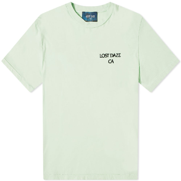 Lost Daze Logo-embroidered Printed Cotton-jersey T-shirt In Green