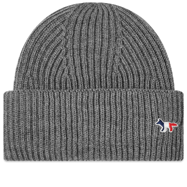 Maison KitsunÉ Tricolour Fox Ribbed Wool-blend Beanie Hat In Grey