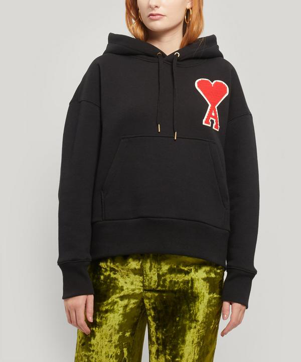 Ami Alexandre Mattiussi Logo Hooded Sweatshirt In Black