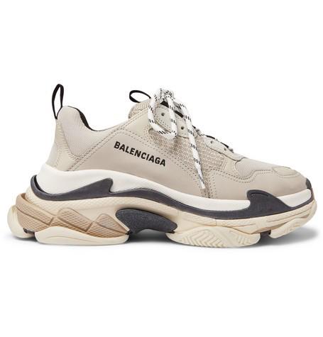 Balenciaga Triple S Mesh, Nubuck And Leather Sneakers In 9787 Bgeblk