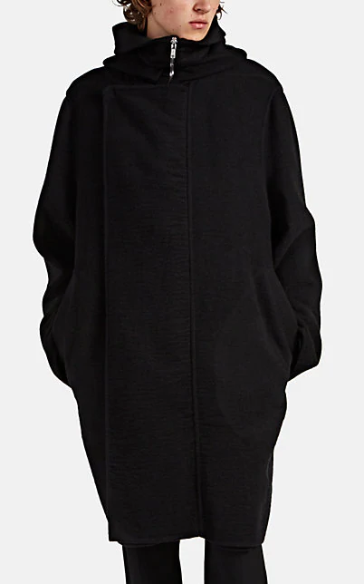 Rick Owens Textured Cashmere Hooded Coat In Black