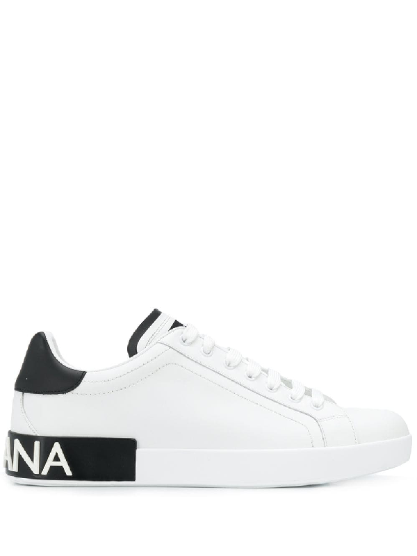 Dolce & Gabbana Dolce And Gabbana White And Black Portofino Sneakers In 8I671