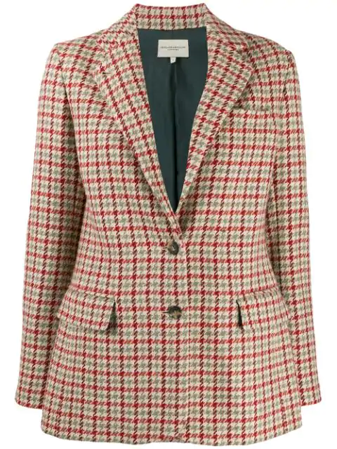 Holland & Holland Houndstooth Fitted Blazer In Neutrals