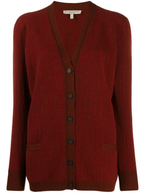 Holland & Holland Oversized Long-sleeve Cardigan In Red
