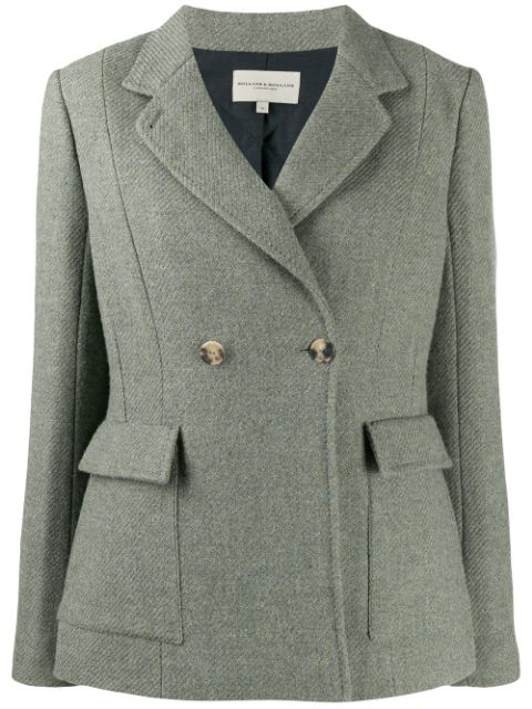 Holland & Holland Double-breasted Fitted Blazer In Green