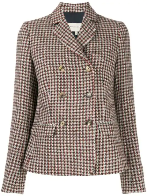 Holland & Holland Houndstooth Double-breasted Blazer In Neutrals