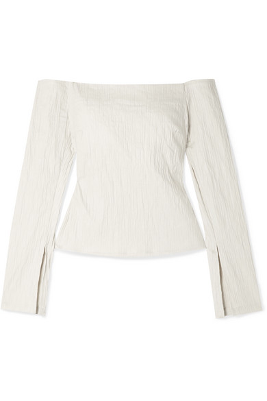 Anna Quan Cora Off-the-shoulder Crinkled Stretch-jacquard Top In White