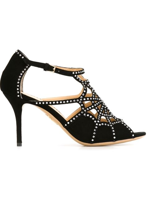 Charlotte Olympia 'Lotte' Charlotte's Web Strass Suede Sandals In Black