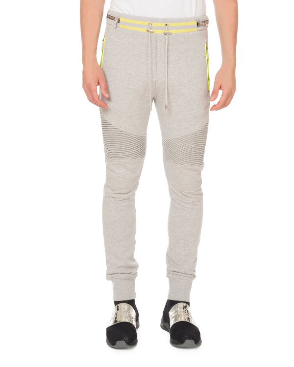 Balmain Men's Rib-Panel Sweatpants In Gray