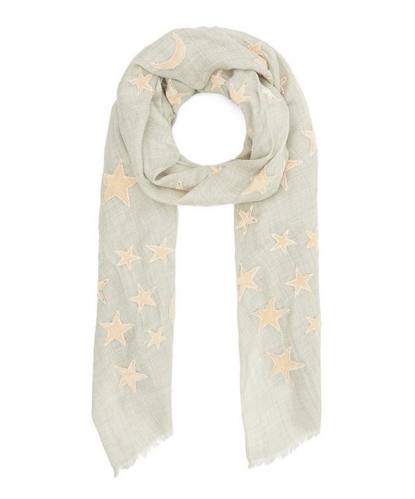 Lily And Lionel Applique Velvet Moon And Star Wool-blend Scarf In Nude