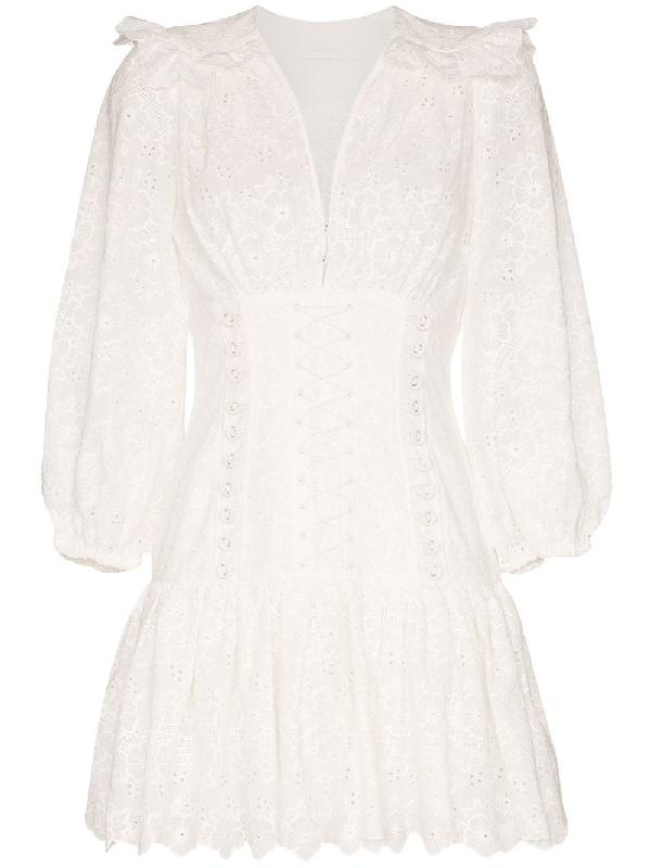 Zimmermann Lace Corset Mini Dress In White