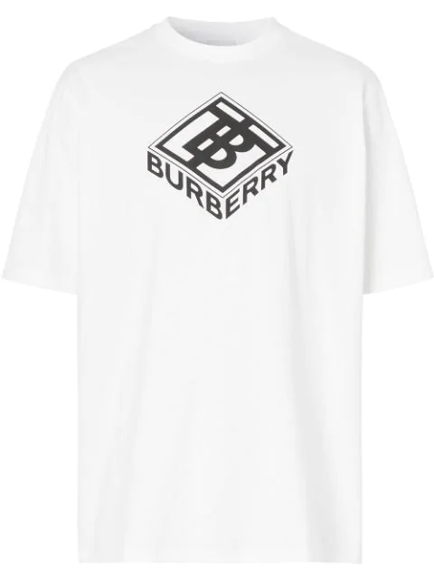 Burberry White Unisex Tb Box Graphic Logo T-shirt