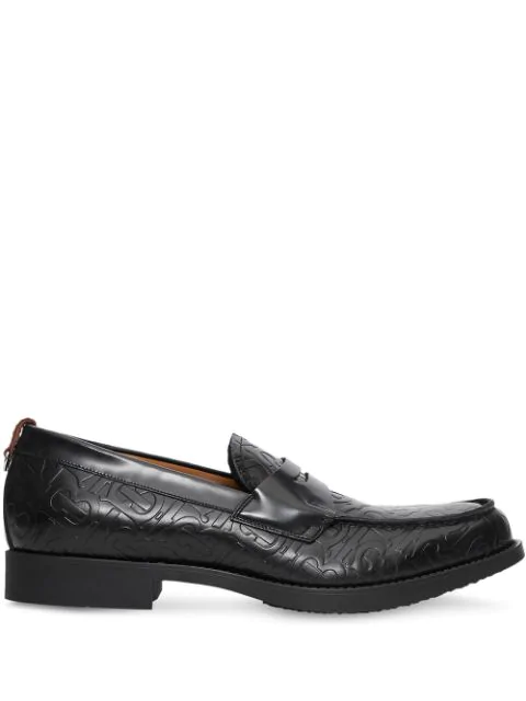 Burberry Emilie Crocodile-effect Leather Penny Loafers In Black