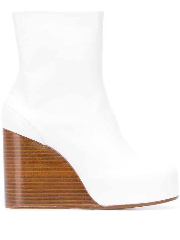 Maison Margiela Square Toe Wedge Boots In White