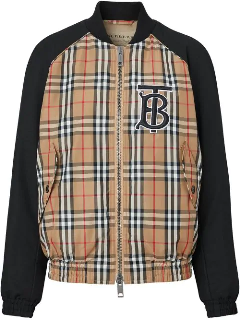 Burberry Monogram Motif Vintage Check Bomber Jacket In Brown