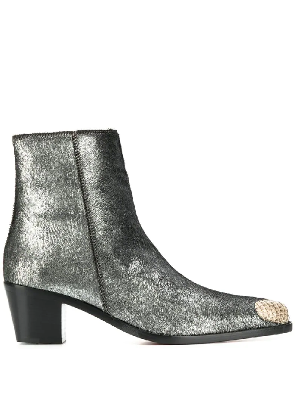 Boyy Milanese Ankle Boots In Silver