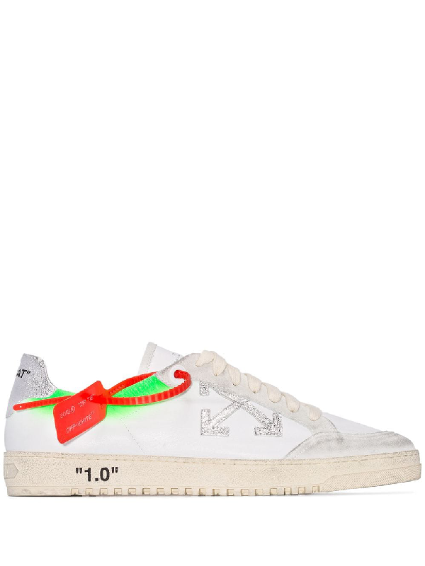 Off-White 2.0 Distressed Suede-Trimmed Leather Sneakers In 0140 White
