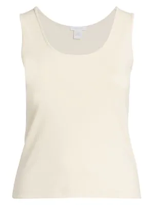 Joan Vass, Plus Size Classic-fit Tank Top In Natural