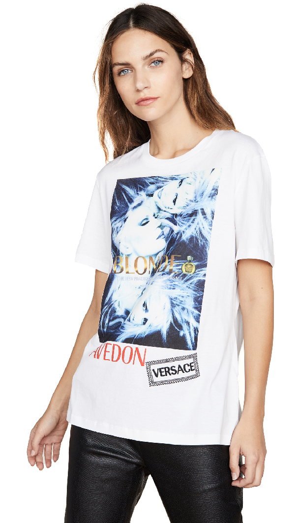 Versace Printed & Embroidered Cotton T-Shirt In White