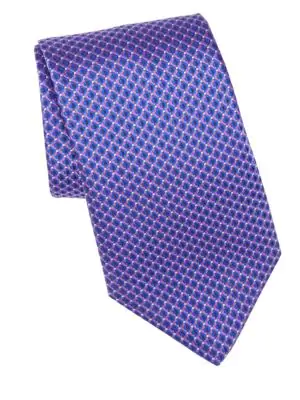 Canali Geometric Print Silk Tie In Blue