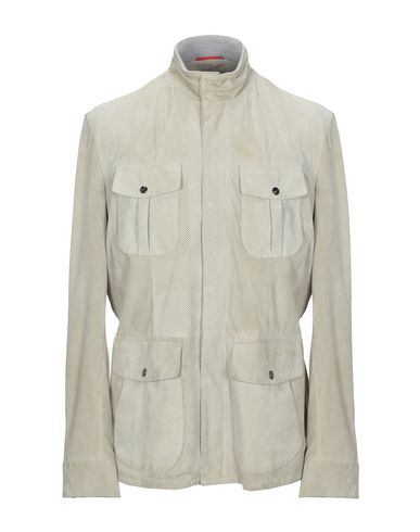 Isaia Leather Jacket In Beige