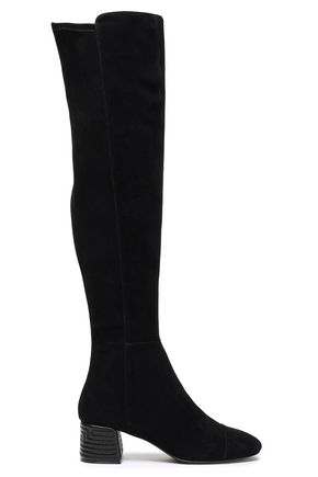 Tory Burch Woman Embroidered Leather-paneled Stretch-suede Over-the-knee Boots Black