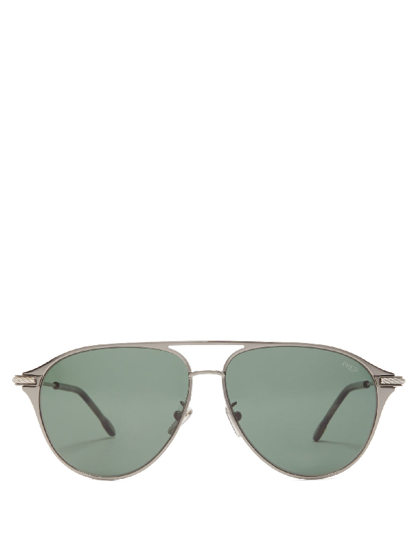 Fred Eyewear Force 10 Aviator Titanium Sunglasses In Grey