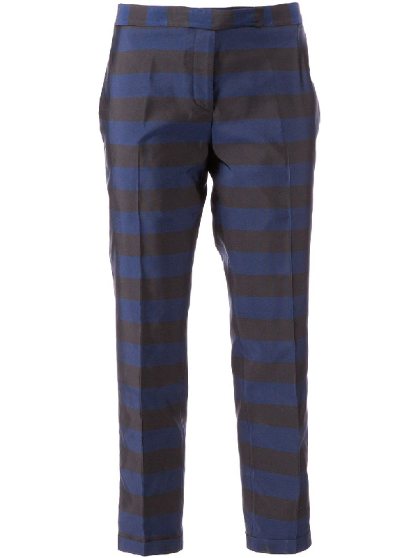 Thom Browne Cropped Tailored Trousers In Blue