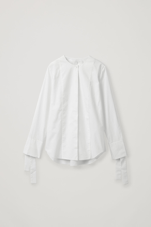 Cos Cotton Shirt With Tie Cuffs In White