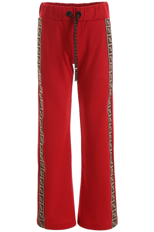 Fendi Ff Panelled Wide Leg Joggers In Red