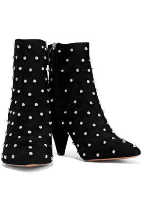 Alice And Olivia Raken Crystal-embellished Suede Ankle Boots In Black