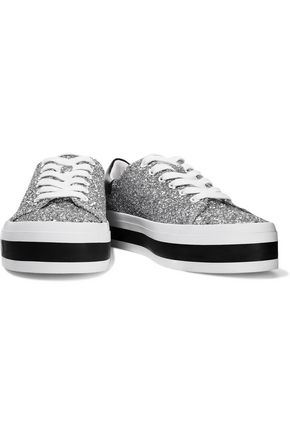 Alice And Olivia Ezra Glittered Canvas Platform Sneakers In Silver