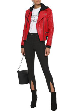 Alice And Olivia Alice + Olivia Woman Avril French Terry-trimmed Leather Hooded Biker Jacket Red