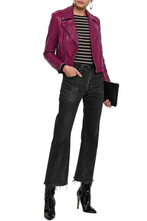 Alice And Olivia Leather Biker Jacket In Grape