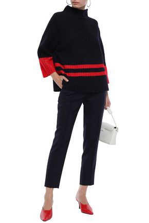 By Malene Birger Woman Striped Ribbed-knit Sweater Navy
