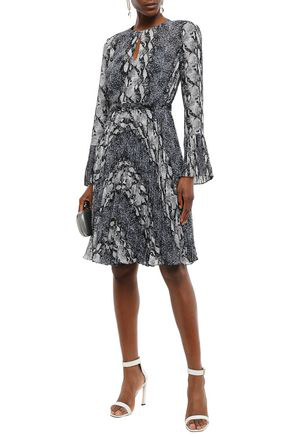 Mikael Aghal Belted Pleated Snake-print Georgette Dress In Blue